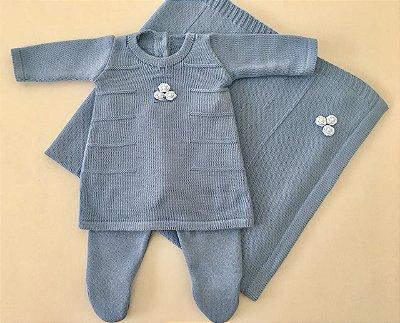 Conjunto Vestido e Calça com Manta Bordado Azul