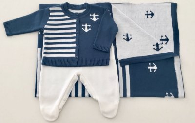Conjunto Casaco e Salopete com Manta Marinheiro Azul e Branco