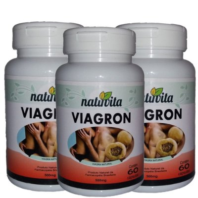 Kit com 3 Viagron Estimulante Sexual Natural - Total 180 cápsulas
