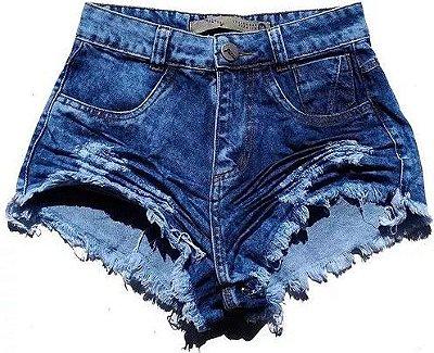 661218b48 Shorts Jeans Feminino Customizado Hot Pants Manchado - 1 Cor