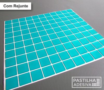 Placa Pastilha Adesiva Resinada 30x27 cm - AT033 - Azul