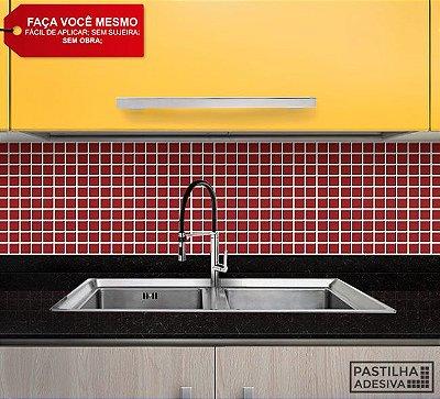 Placa Pastilha Adesiva Resinada 30x27 cm - AT037 - Vermelho