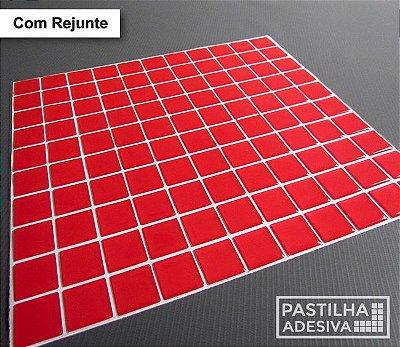 Placa Pastilha Adesiva Resinada 30x27 cm - AT039 - Vermelho