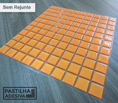 Placa Pastilha Adesiva Resinada 30x27 cm - AT043 - Laranja