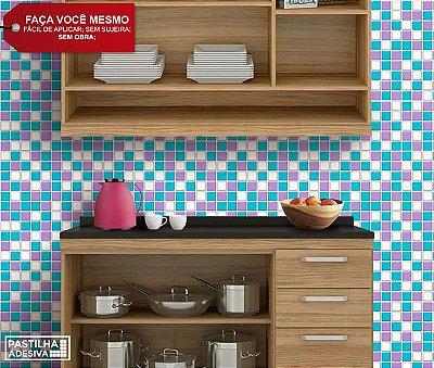 Placa Pastilha Adesiva Resinada 30x27 cm - AT047 - Azul Roxo