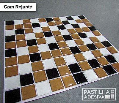 Placa Pastilha Adesiva Resinada 30x27 cm - AT053 - Marrom Preto