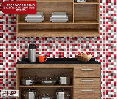 Placa Pastilha Adesiva Resinada 30x27 cm - AT063 - Vermelho Cinza