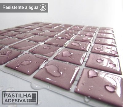 Placa Pastilha Adesiva Resinada 18x18 cm - AT077 - Rosa