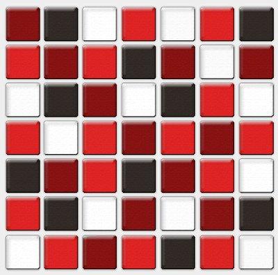 Placa Pastilha Adesiva Resinada 18x18 cm - AT082 - Vermelho