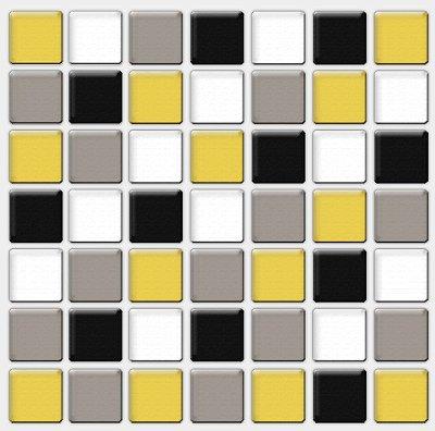 Placa Pastilha Adesiva Resinada 18x18 cm - AT086 - Amarelo