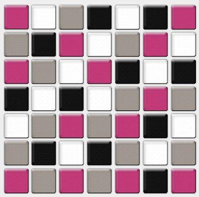 Placa Pastilha Adesiva Resinada 18x18 cm - AT088 - Rosa