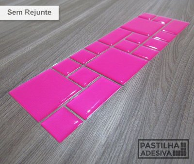 Faixa Mosaico Adesiva Resinada 27x8 cm - AT98 - Rosa