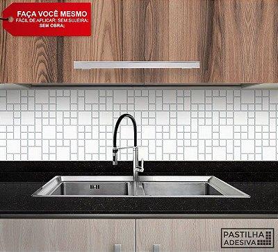 Placa Mosaico Adesiva Resinada 30x27 cm - AT103 - Branco