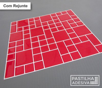 Placa Mosaico Adesiva Resinada 30x27 cm - AT104 - Vermelho