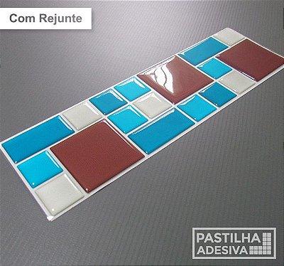 Faixa Mosaico Adesiva Resinada 27x8 cm - AT109 - Azul Branco Marrom