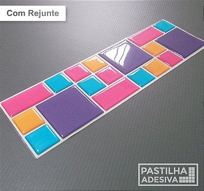 Faixa Mosaico Adesiva Resinada 27x8 cm - AT110 - Rosa Roxo