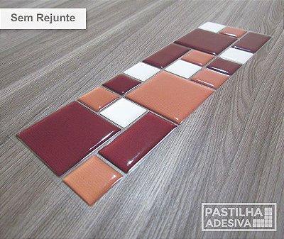 Faixa Mosaico Adesiva Resinada 27x8 cm - AT118 - Marrom