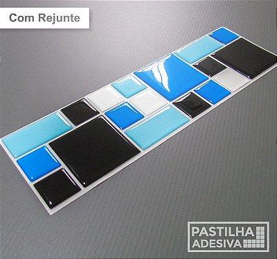 Faixa Mosaico Adesiva Resinada 27x8 cm - AT121 - Azul Preto