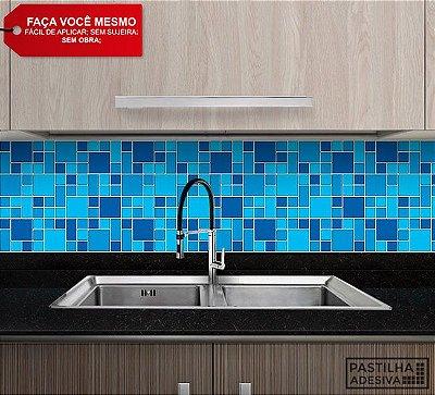 Placa Mosaico Adesiva Resinada 30x27 cm - AT129 - Azul
