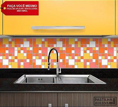 Placa Mosaico Adesiva Resinada 30x27 cm - AT134 - Amarelo Laranja