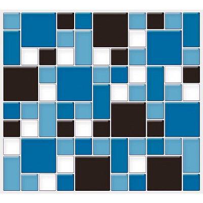 Placa Mosaico Adesiva Resinada 30x27 cm - AT139 - Azul