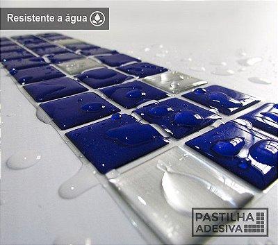 Faixa Pastilha Adesiva Resinada Aço Escovado 27x8 cm - AT159 - Azul