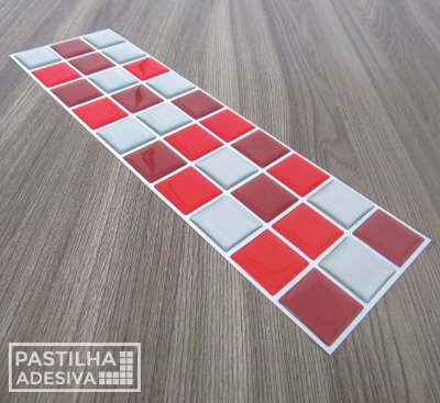 Faixa Pastilha Adesiva Resinada Aço Escovado 27x8 cm - AT161 - Vermelho