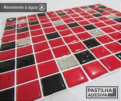 Placa Pastilha Adesiva Resinada 30x27 cm - AT173 - Vermelho