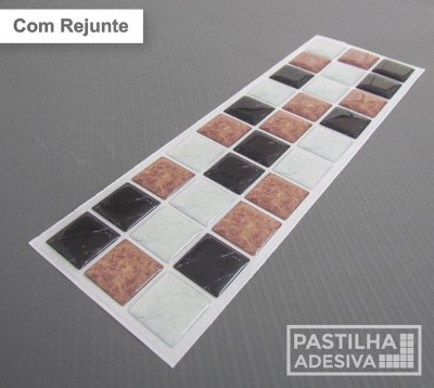 Faixa Pastilha Adesiva Resinada 27x8 cm - AT186 - Marrom