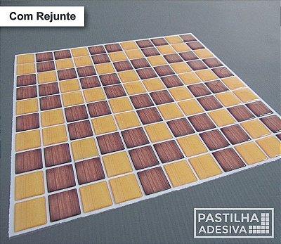 Placa Pastilha Adesiva Resinada 30x27 cm - AT189 - Marrom Amarelo