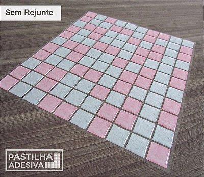 Placa Pastilha Adesiva Resinada 30x27 cm - AT190 - Rosa Branco
