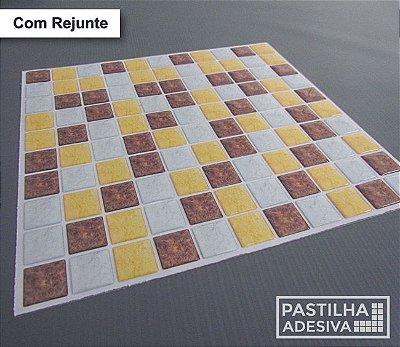 Placa Pastilha Adesiva Resinada 30x27 cm - AT193 - Amarelo Marrom