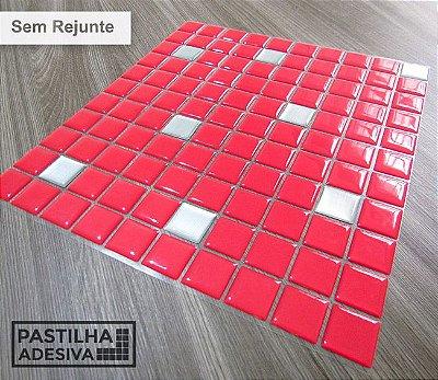 Placa Pastilha Adesiva Resinada 30x27 cm - AT195 - Vermelho
