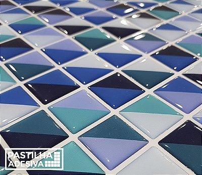 Placa Pastilha Adesiva Resinada 30x27 cm - AT208 - Azul