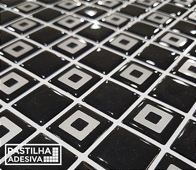 Placa Pastilha Adesiva Resinada 30x27 cm - AT216 - Preto