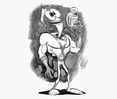 Enjoystick Earthworm Jim - Black and White Sketch