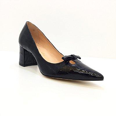 Sapato Croco Preto Luiza Barcelos