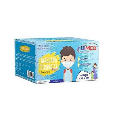MASCARA DESCARTAVEL CIRURGICA INFANTIL AZUL C/ELASTICO CX 50 LUIMED