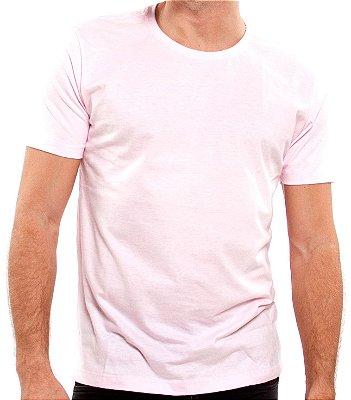 Camiseta 100% Algodão Penteado Rosa Claro