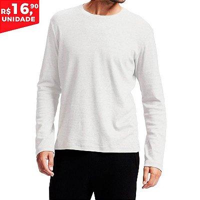 Camiseta Manga longa 100% Algodão Penteado Branco