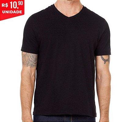 Camiseta V 100% Algodão Penteado Preto