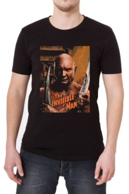 Camiseta Masculina Preta Drax, The Invisible Man