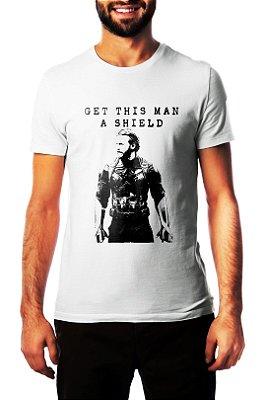 Camiseta Masculina Branca Capitão América Get This Man a Shield