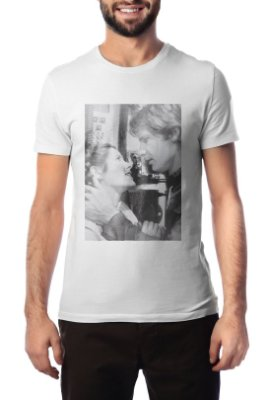 Camiseta Masculina Branca Han & Leia Star Wars