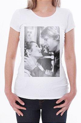 Camiseta Feminina Branca Han & Leia Star Wars