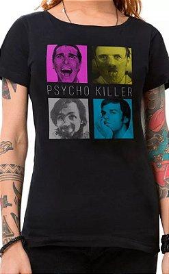 Camiseta Feminina Preta Psycho Killer
