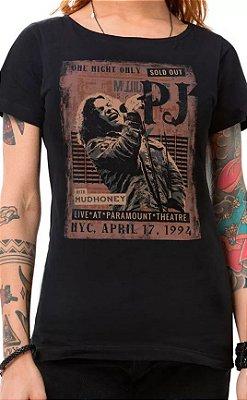 Camiseta Feminina Preta Sold Out Pearl Jam