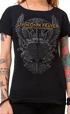Camiseta Feminina Preta Bon Jovi Heart n Dagger