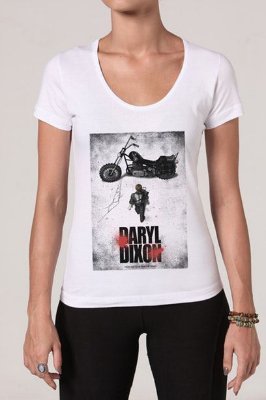 Camiseta Feminina Branca Walking Dead Daryl Dixon