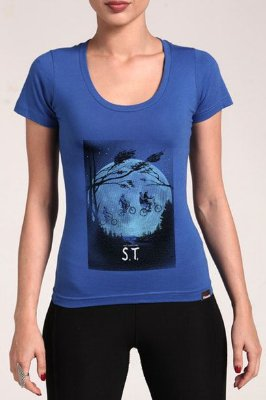 Camiseta Feminina Azul Stranger Things